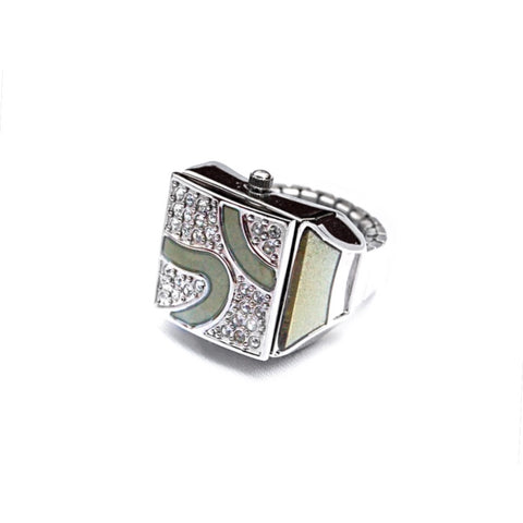 Jade Pave Cube Ring Watch by Bonetto