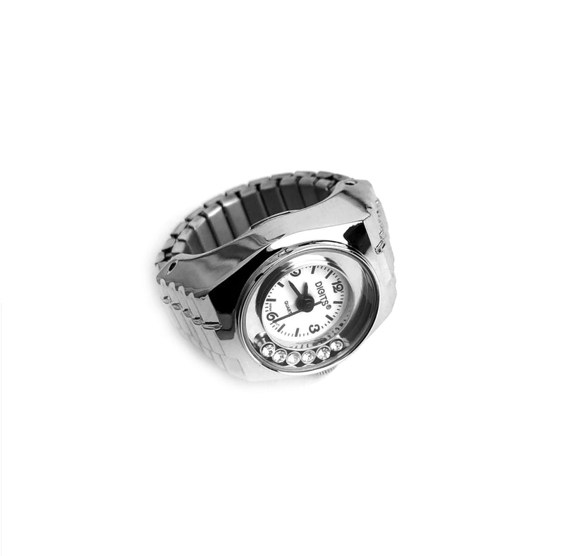Stellar Floating Crystals Finger Ring Watch in Silver by DIGITS Watch