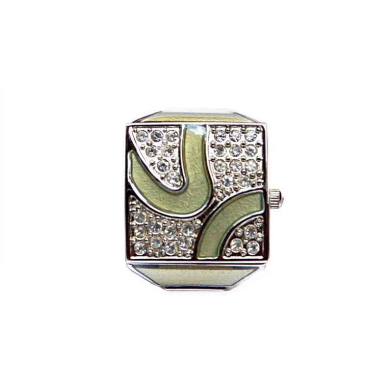 Jade Pave Cube Finger Ring Watch by Bonetto
