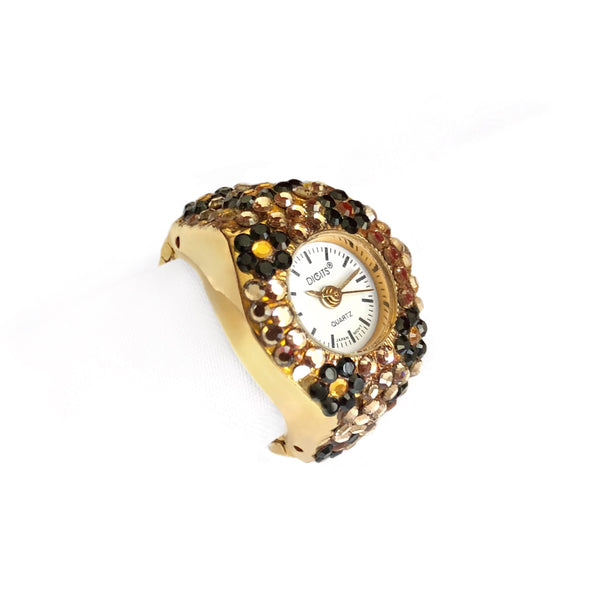 Cheetah Gemstone Finger Ring Watch by DIGITS