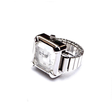 Silver Emerald Ring Watch