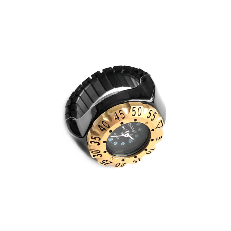 Lunar Diver Ring Watch in Jet Chrome with Gold Bezel by DIGITS Watch