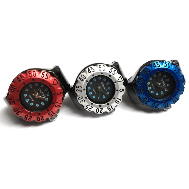 Lunar Diver Ring Watches in Red Silver Blue by DIGITS
