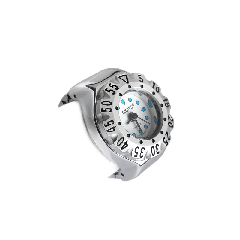 Stellar Diver Ring Watch in Silver by DIGITS