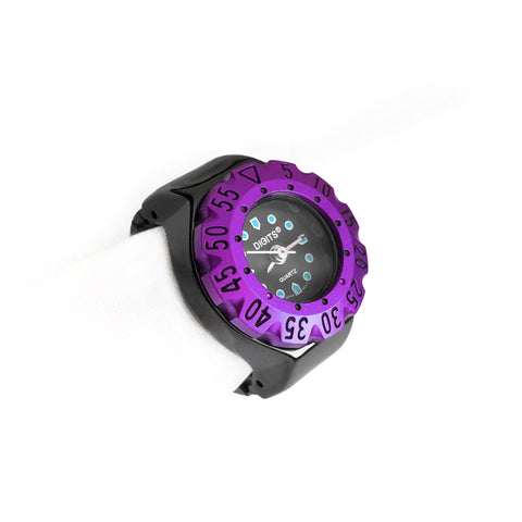 Lunar Diver Ring Watch in Jet Chrome with Purple Bezel