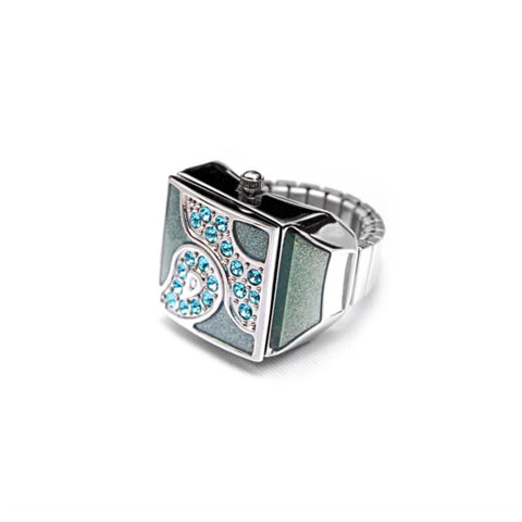 Baby Blue Pave Cube Ring Watch by Bonetto