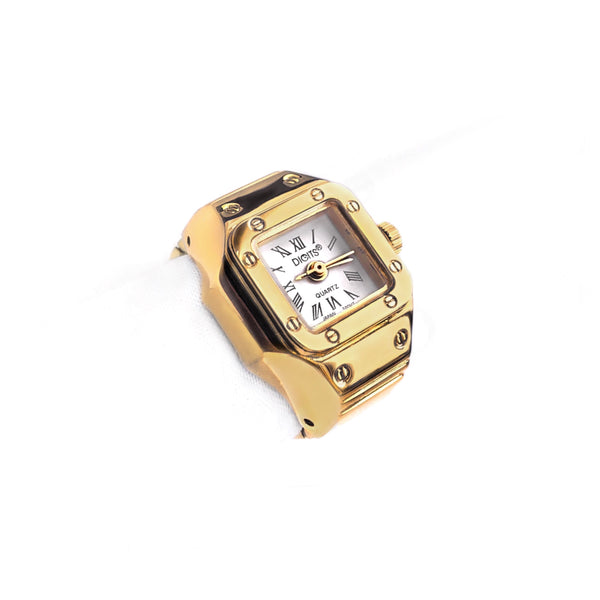 Stellar Radiance Finger Ring Watch in Gold by DIGITS