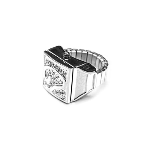 White Pave Cube Ring Watch by Bonetto