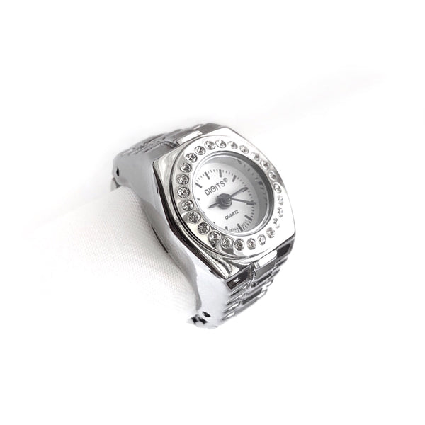 Stellar Pave Halo Finger Ring Watch in Silver by DIGITS