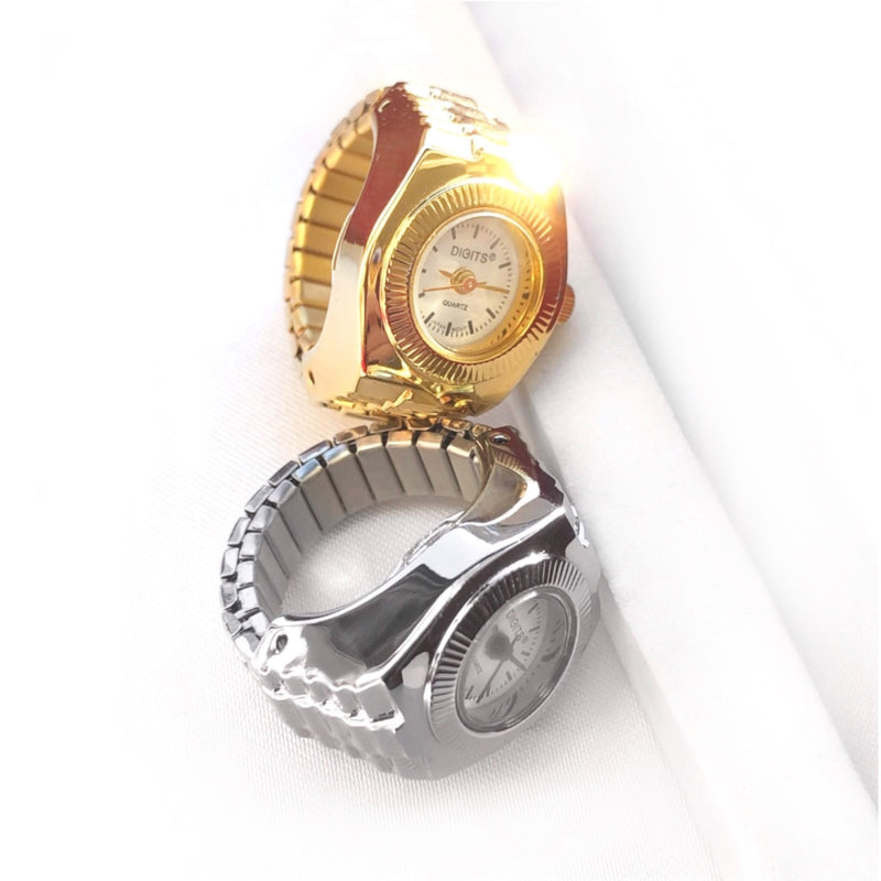 Stellar Sphere Ring Watches in Silver and Gold by DIGITS Watch