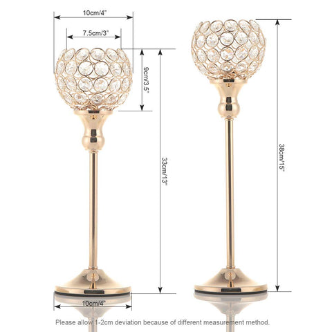 Gold Crystal Candle Holders Set