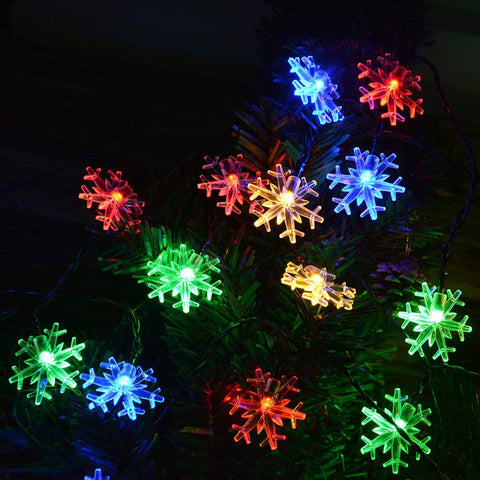 Solar Powered Christmas Snowflake String Lights