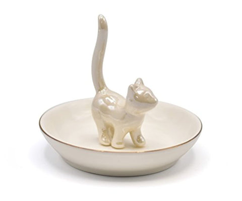 Porcelain Trinket Dish Cute Kitty Ring Holder