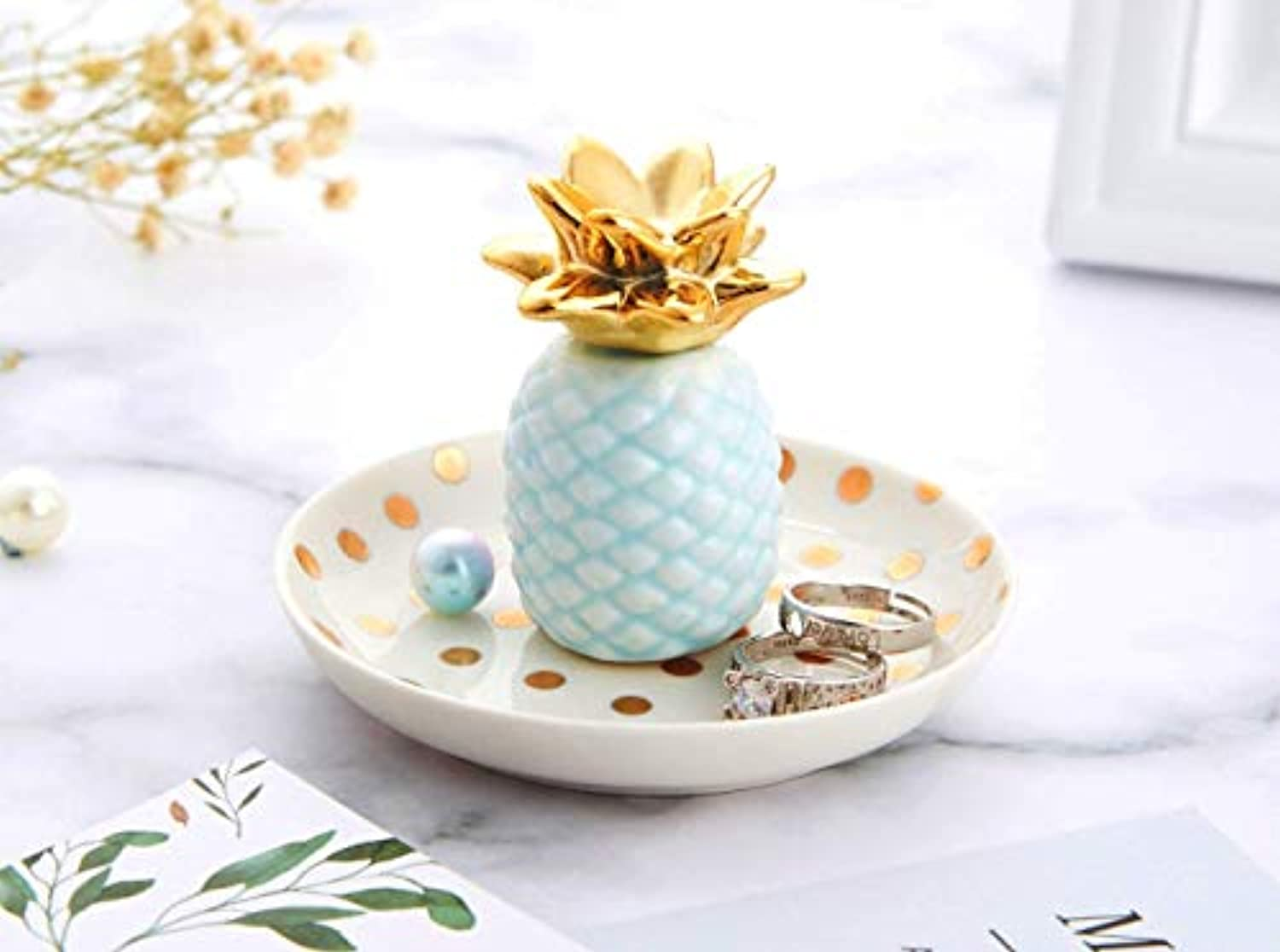 Blue Pineapple Jewelry Plate
