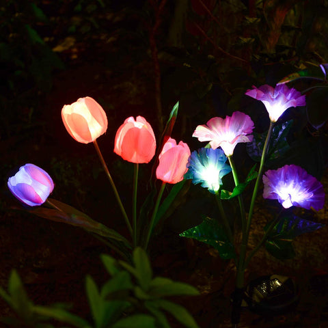 Solar Tulip Morning Glory Flower Lights