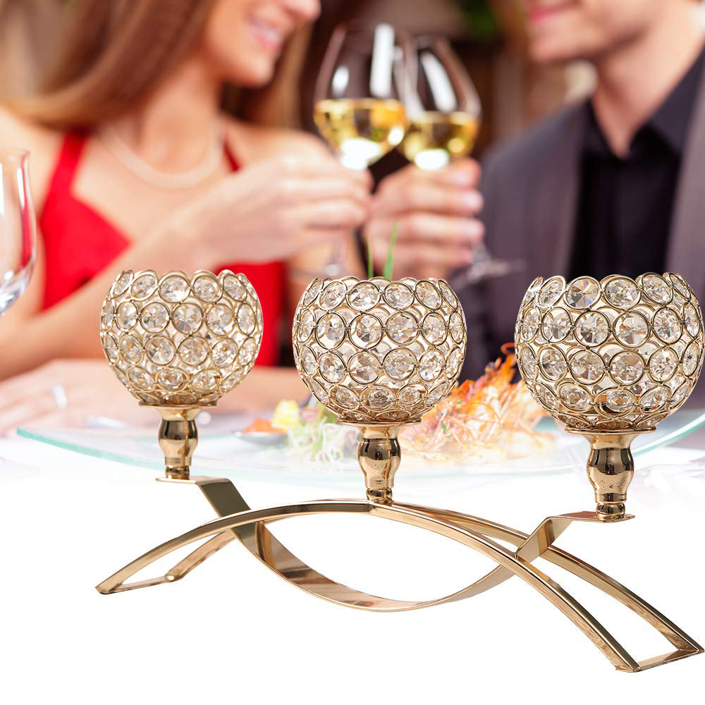 3-Candle Crystal Candle Holders