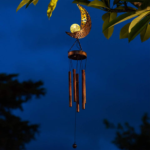Moon Crackle Glass Ball  Wind Chime
