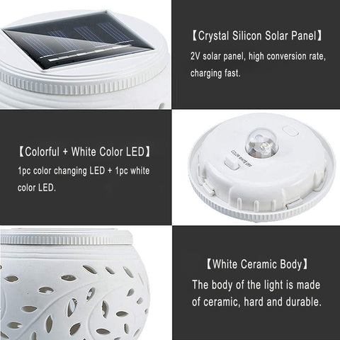 Solar-Powered LED Ceramic Night Lights