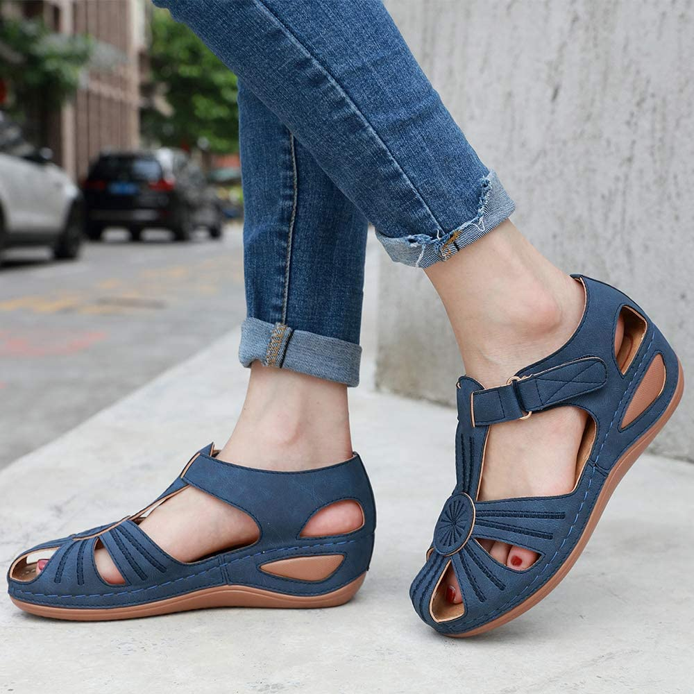 ZAPZEAL Ladies Sandals Women Summer Wedge Platform Hollow Post Toe Thongs Shoes with Adjustable Ankle Strap Walking Sandals Womens
