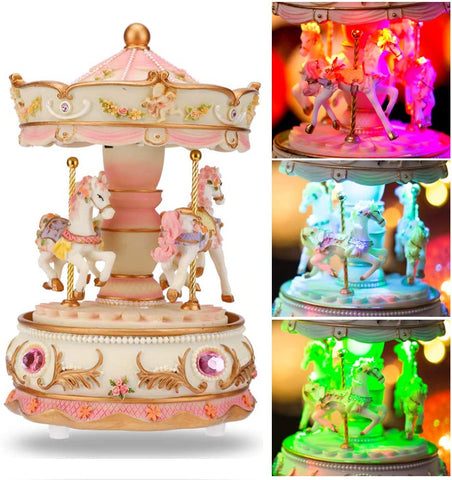 3 Horses Carousel Music Box