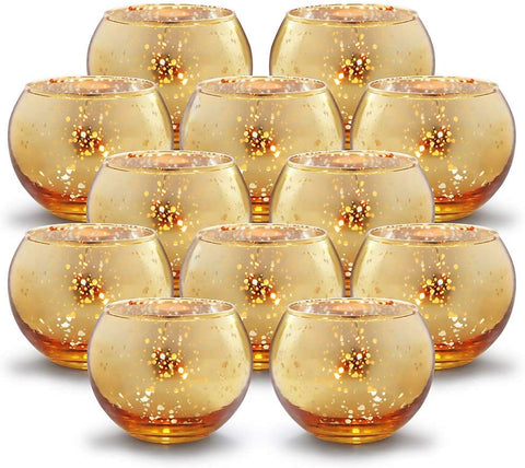 Round Gold Votive Candle Holders - Set of 12