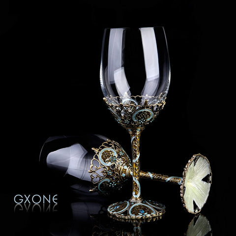 GXONE Red Wine Glasses - Lead Free Titanium Crystal Glass, 12oz Enamel Crafting Hand Blown Wine glasses for Wine Tasting, Birthday, Anniversary, Christmas or Wedding Gifts – Set of 2