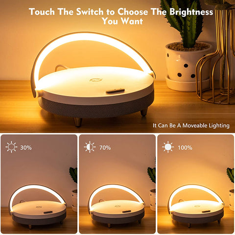 Bluetooth Speaker with Wireless Charger LED Night Light