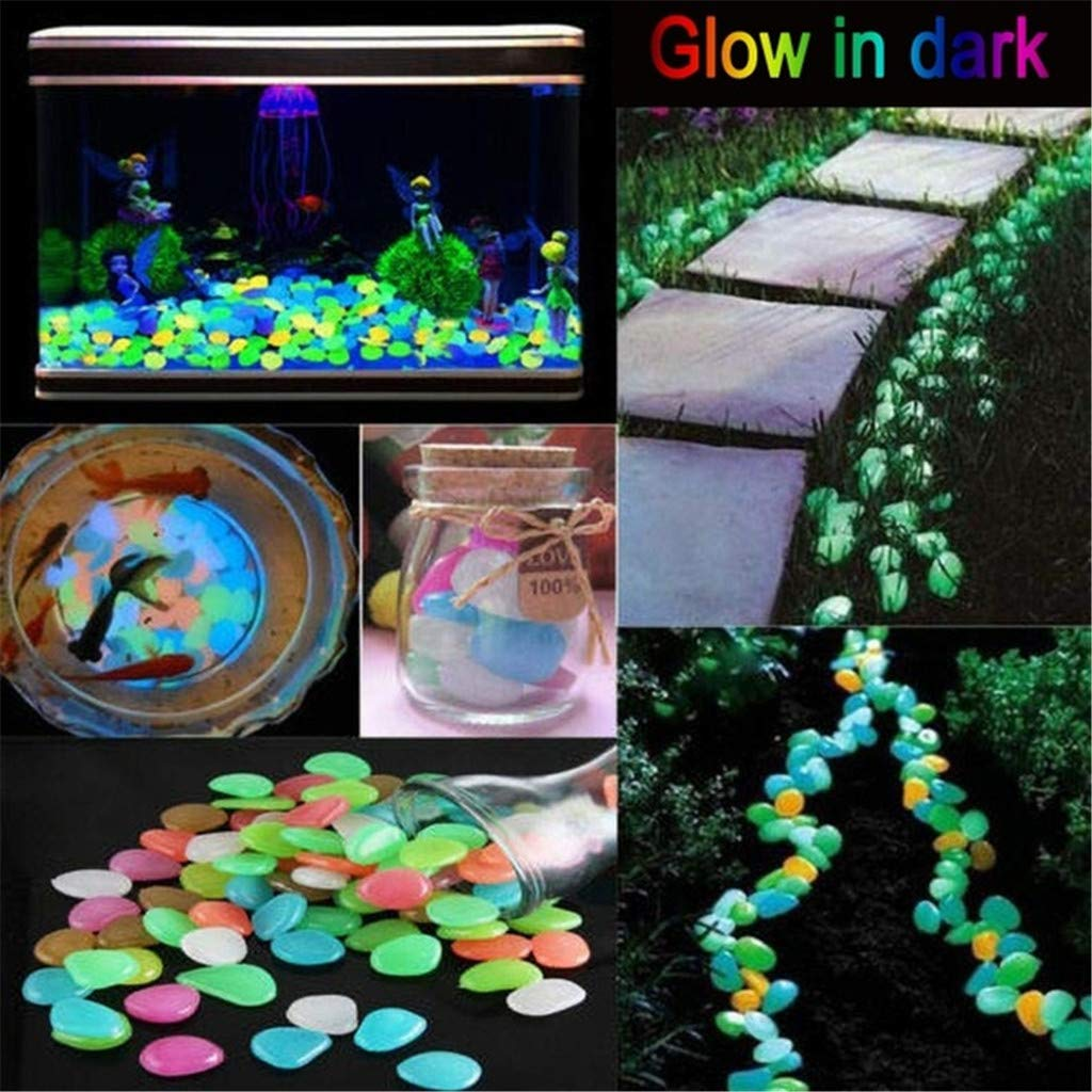 200PCS Dark Luminous Garden Pebbles