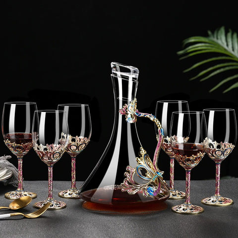 Enamel Red Wine Glass - Royal Pink