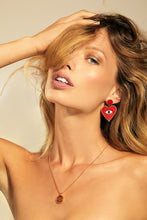 Load image into Gallery viewer, Evil Eye Red Earrings