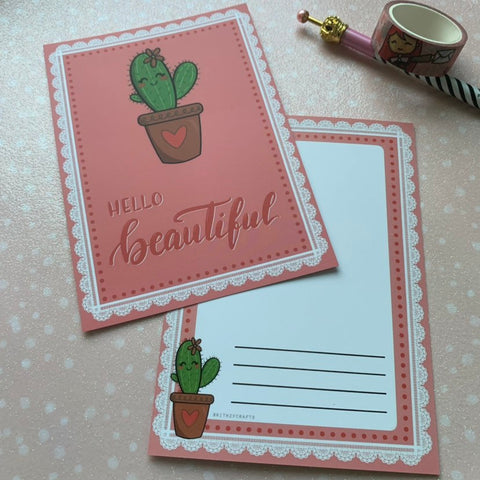 Cute Cactus postcard - hello beautiful