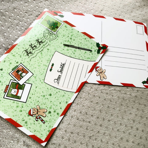 Christmas letter to Santa postcard