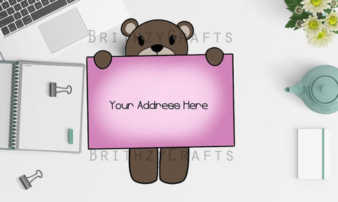 Bear with sign Address Labels