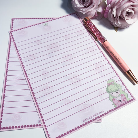 Rose letter writing paper