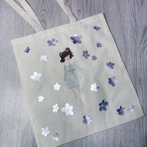LIMITED - The Flower Girl Tote bag - with silver vinyl