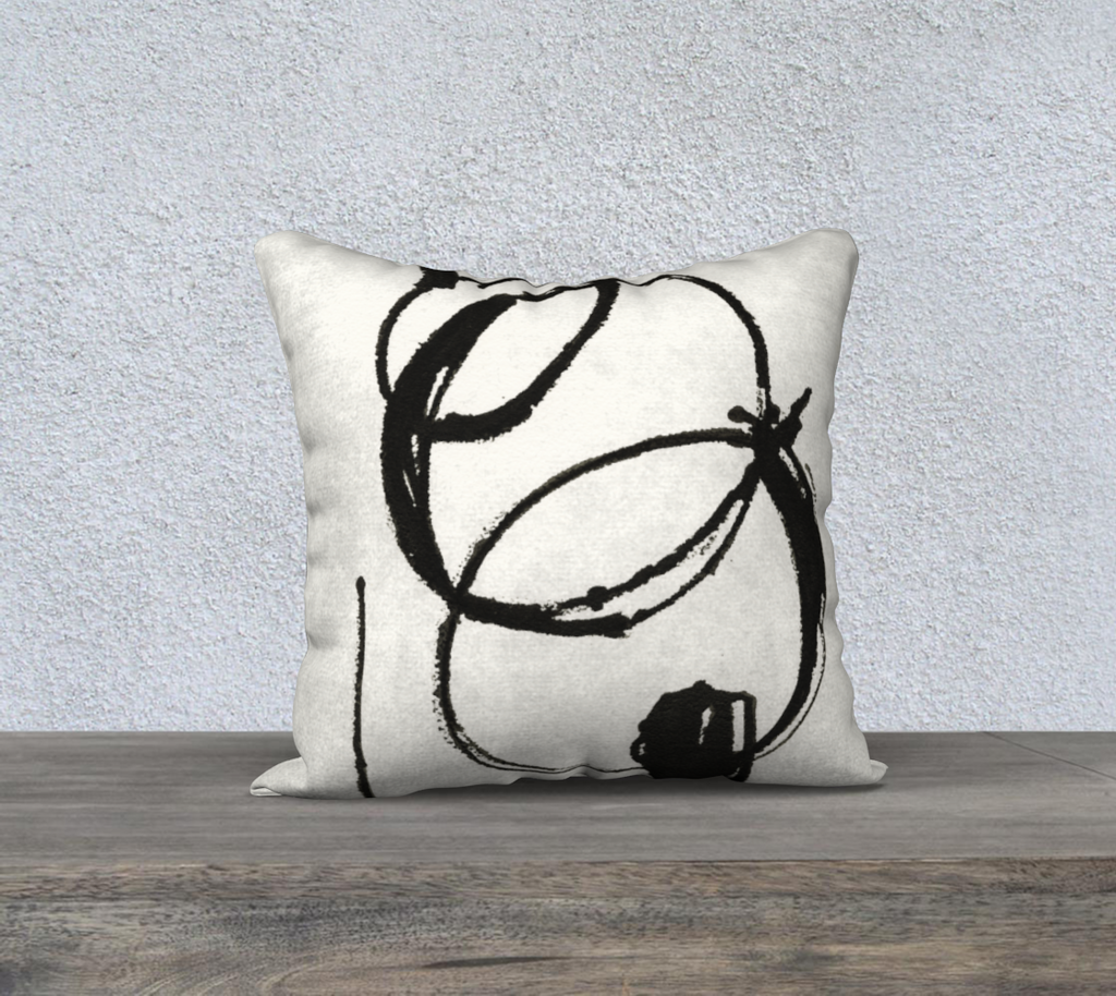 "18"" x 18"" Throw Pillow Cover- Cleo in Black"