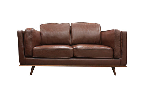 2 Seater Stylish Leatherette Brown York Sofa