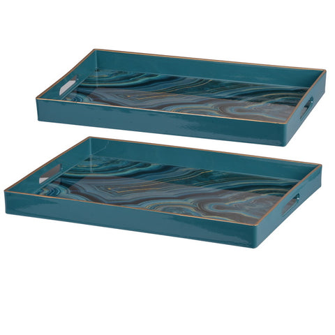 Marbled Blue Set of 2 Trays