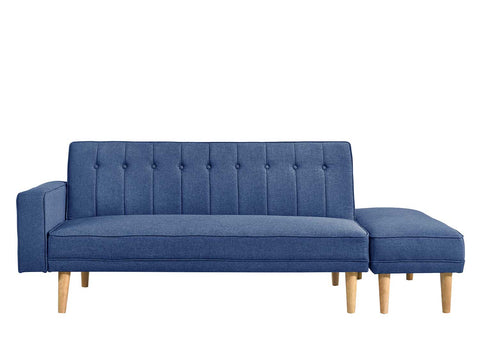 3 Seater Blue Fabric Sofa Bed with Ottoman