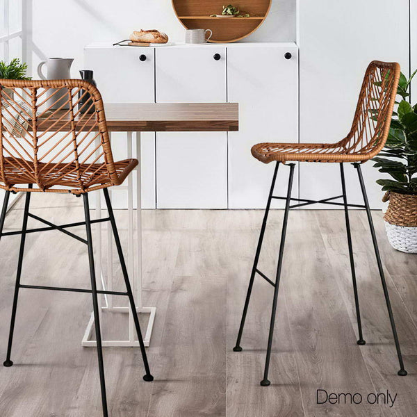 2 x PE Wicker Bar Stools - Natural