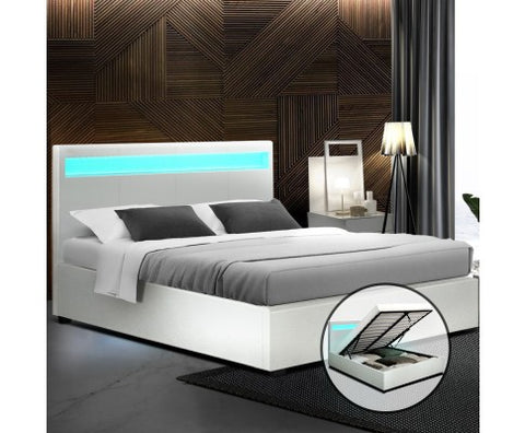White Led Queen Size Bedroom Suite
