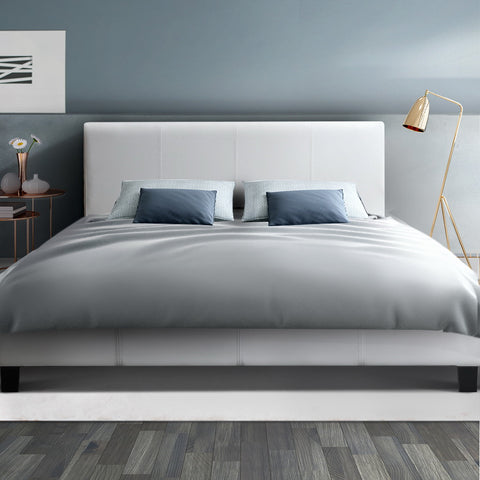 NEO Double Size White Leather Bed Frame
