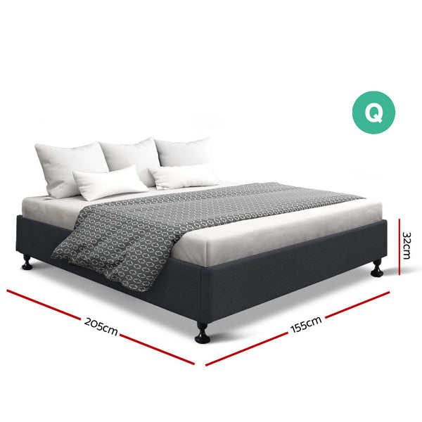 Queen Tomi Bed Base - Charcoal