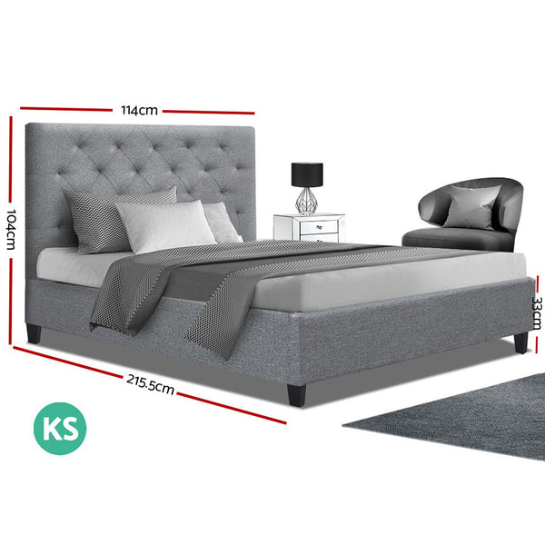 VAN King Single Size Wooden Fabric Bed Frame - Grey