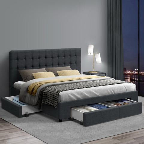 Queen Size Fabric Bed Frame with Drawers  - Charcoal