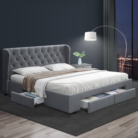 MILA King Size Fabric Bed Frame With Storage in Grey
