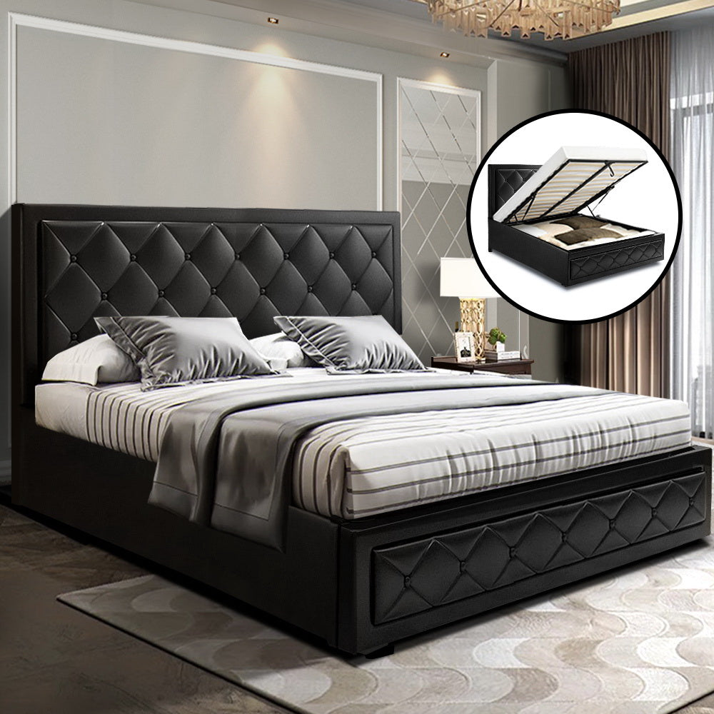 TIYO Queen Black Leather Gas Lift Bed