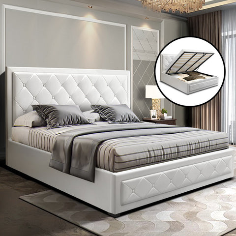 TIYO King White Leather Gas Lift Bed Frame With Storage