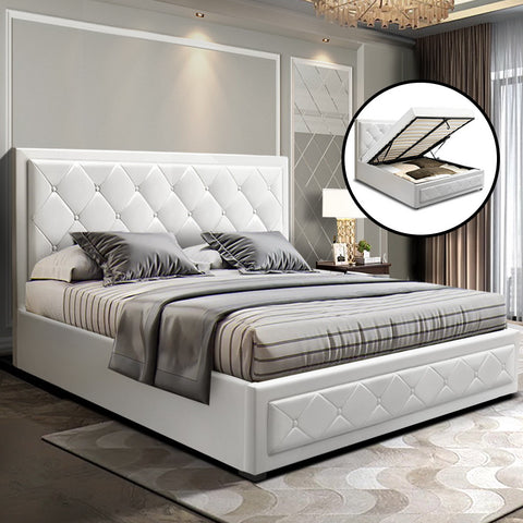 TIYO Queen White Leather Gas Lift Bed