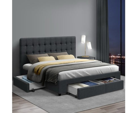 Double Size Fabric Bed with Drawers - Charcoal